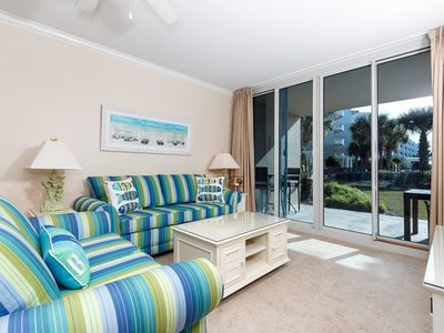 Photo for Bright, beachy condo at Waterscape! Free beach chairs! Children's playground + two hot tubs on-site!