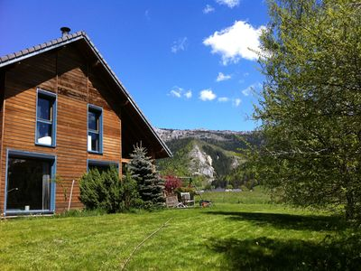 Photo for Beautiful wooden house at the foot of the slopes