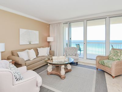 Photo for Crisp beachfront condo w/private balconies & elevator! ✨