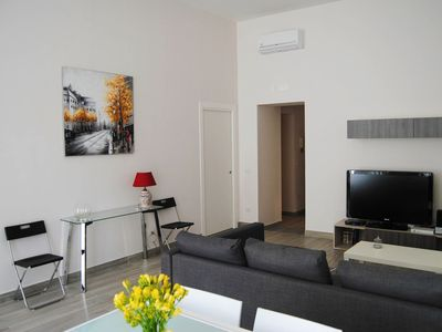 Photo for Apartment recently renovated with modern furniture in historical building located in Naples main str