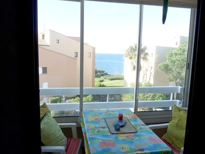 Photo for T2 air conditioned small sea view with swimming pool in the field of La Coudoulière