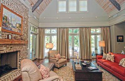 No detail has been overlooked in this magnificent home.  Open floor plan with soaring ceilings in the living area.