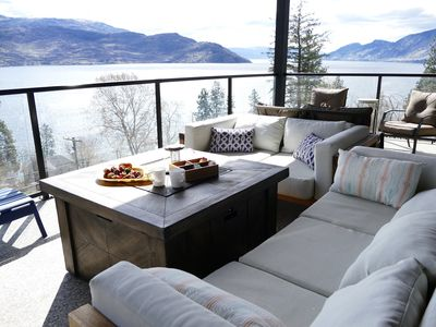 Lake and Mountain views from the Patio with Fire Pit and Weber BBQ