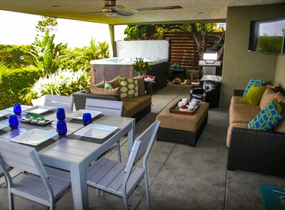 """Outdoor Living! 1000 sq feet of covered, private patio space with 50"""" smart TV."""