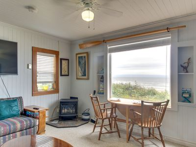 Photo for Beachfront cabin w/ a gas stove and ocean views. Walk to Nye Beach shops & more!