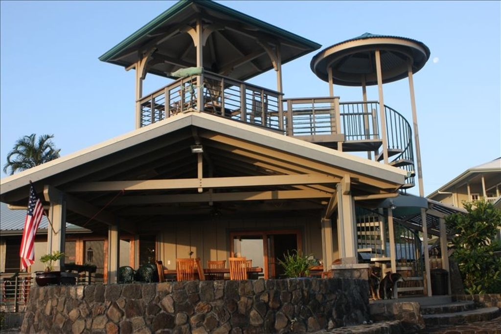 Honolii black sand beach vacation rental vrbo for House plans with observation deck