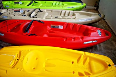 4 kayaks w paddles and life jackets for our clients to use at no extra charge!