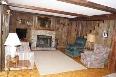 Family Room with river stone fireplace