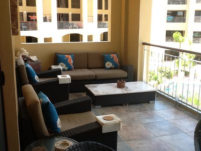 Comfortable patio lounging for anytime of day.