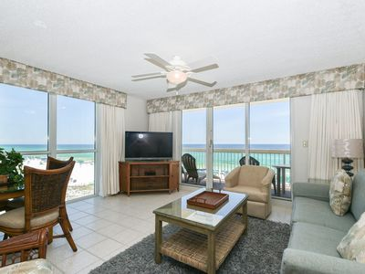 Photo for BEACHFRONT corner condo! Most spacious condo of the resort w/ PRIVATE BALCONY!