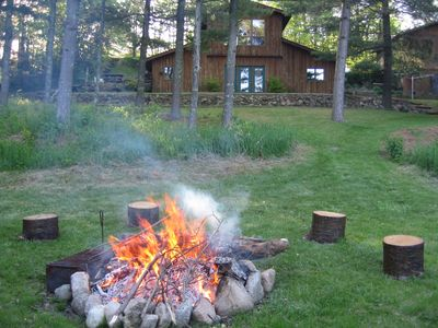 back view of home, with firepit
