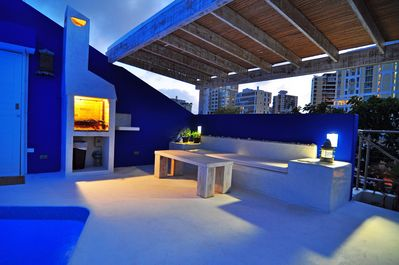 Top roof pool at sunset