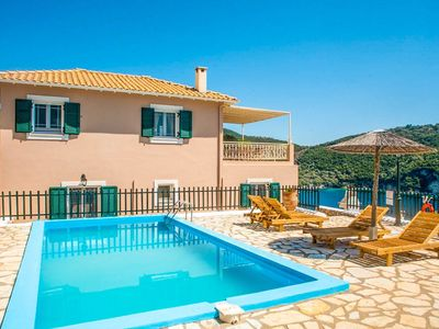 Photo for Villa Akrogiali: Large Private Pool, Walk to Beach, Sea Views, A/C, WiFi