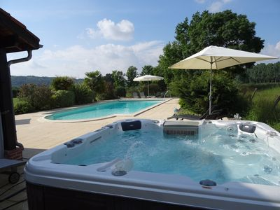 Photo for luxurious, charming detached gite, swimming pool& jacuzzi in delightful hamlet