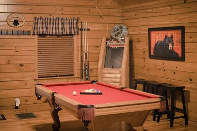 Game Center with Pool Table,  Game Console, and other Board Games and Books