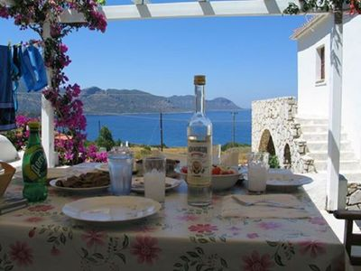 Photo for Greek house, Cycladic style, with its gaze upon the Aegean Sea