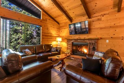 Enjoy a crackling fire in the spacious brick fireplace.
