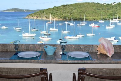 Amazing view from one bedroom balcony of harbor and outlying islands
