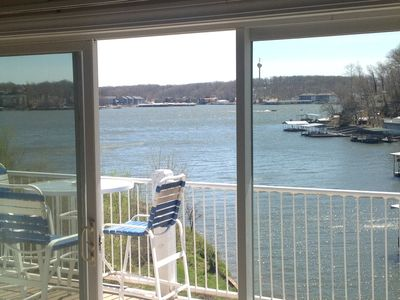 View out to lake from main living room on 40 ft deck