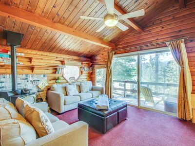 Photo for Cozy, cabin-style home w/ balcony & partial lake views - close to town. Dogs OK!