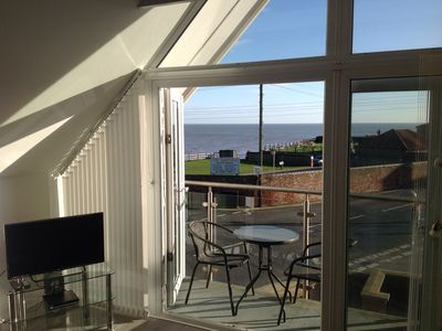 Photo for Beautiful apartment, sea view from the balcony, vaulted ceilings,  well equipped
