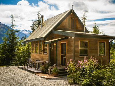 Photo for Private and remote off-grid mountain cabin - sun drenched, overlooks all coastal mountains