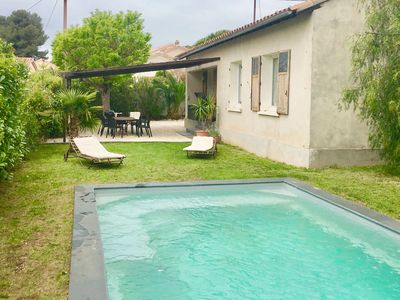 Photo for Villa with swimming pool, air-conditioned, sleeps 6, near the beach, Les Sablettes