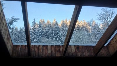 Your view from the bed in the loft bedroom (Owl's Nest) in winter.