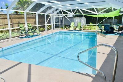 The pool and Lanai from outside of the master bedroom.