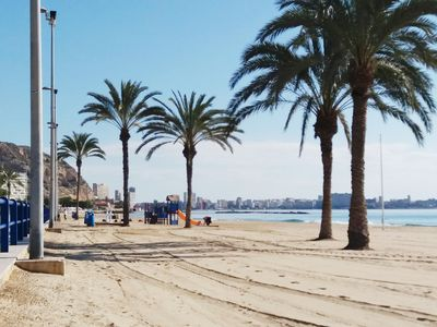 Photo for Beach front of Postiguet comfortable apartment with direct sea views