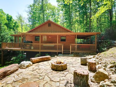 Photo for Cosby Rustic treat! W/wrap around porch, Hot Tub , WiFi & A rock fire-pit!