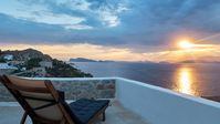 Simple, artists living perched up on the hill with stunning views across the port of Hydra