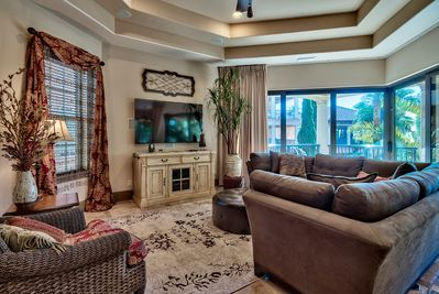 Another living room view with the large screen TV