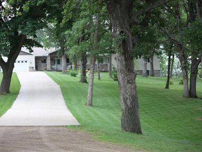 The cement driveway to the lakehouse