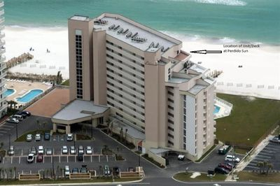 Aerial view of Perdido Sun looking towards gulf.  Unit  is shown with arrow.