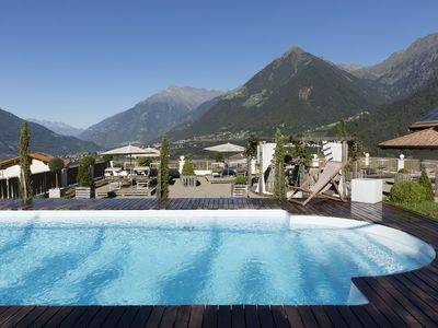 """Photo for Charming Apartment """"Landpalais Goyenhof"""" with Mountain View, Lift, Wi-Fi, Pool, Balcony, Rooftop Terrace & Garden; Parking Available"""