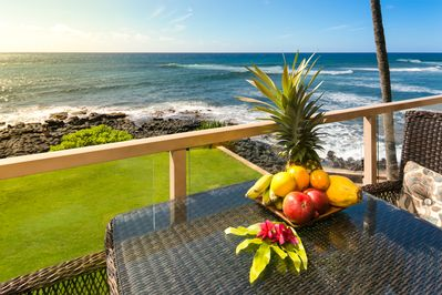 Relax on your private lanai just feet away from the ocean and waves.