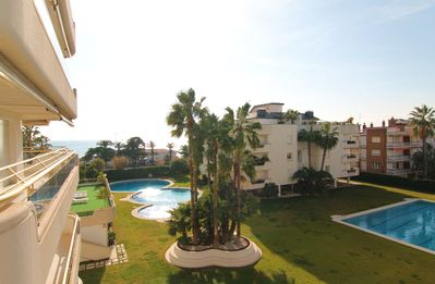 Photo for Magnificent luxury apartment next to the beach with garden and pool. HUTB-013837