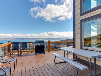 Photo for NEW LISTING! Stunning new cabin with lake views and basketball court!