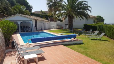 Photo for Andalusian Villa with sea-mountain views & private pool in Mijas for 8 people