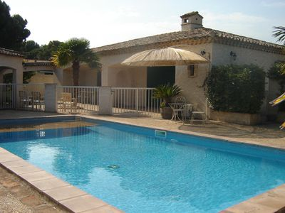 Photo for LARGE COMFORT, 4 bedrooms, 8 people, private fenced pool 10 km sea