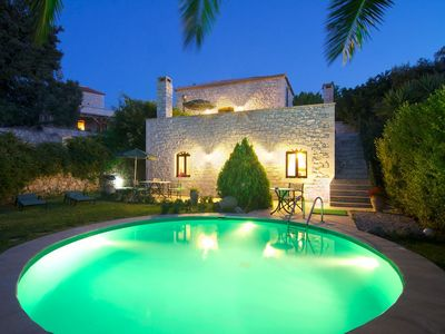 Photo for Stone villa with pool & fantastic sea views (with special autumn offers)