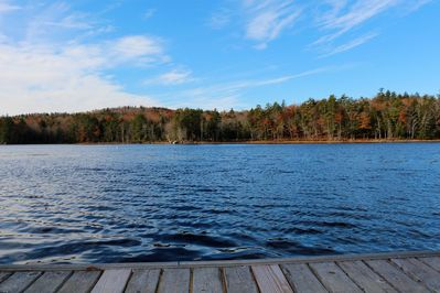 View of lake from private dock in Fall