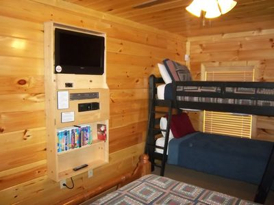 Entertainment Center in Lower Bedroom - flat screen TV, XBox, DVD/VCR