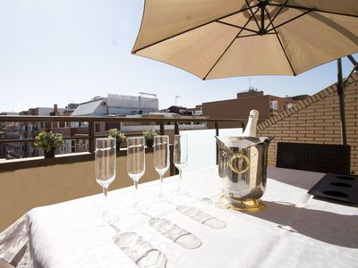 Photo for Deco Attic Duplex apartment in Adelfas with WiFi, air conditioning, private terrace, balcony & lift.
