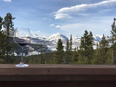 Enjoying a Glass of Wine on the Deck with Great Mountain Views!
