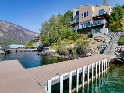 Photo for Modern, dog-friendly lakefront chalet w/ private hot tub & shared dock!