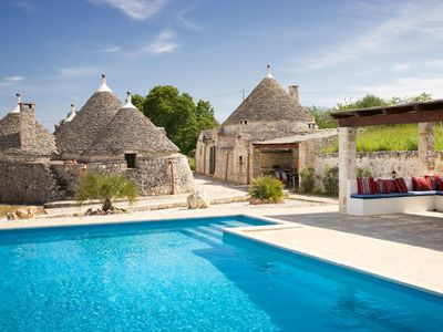 Photo for Luxury 18th century trullo, 10m x 5m private pool, olive and cherry trees