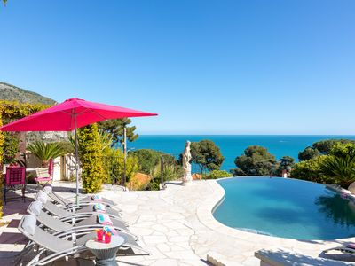 Photo for Luxury Villa 180º sea view, Infinity Pool 4 bd, 4 bath, walk to the beach