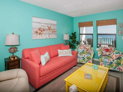 Photo for 4th floor corner Gulf-front | Outdoor pool, BBQ, Wifi | Free golf, fishing, dolphin cruise, OWA tix